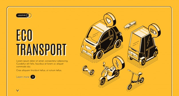 Eco transport isometric banner template Free Vector