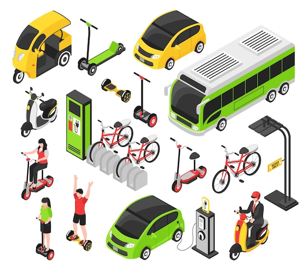 Eco transport isometric set with electric car scooter bicycle segway gyro isolated decorative icons Free Vector