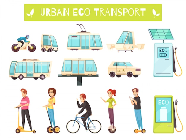 Eco transport set Free Vector