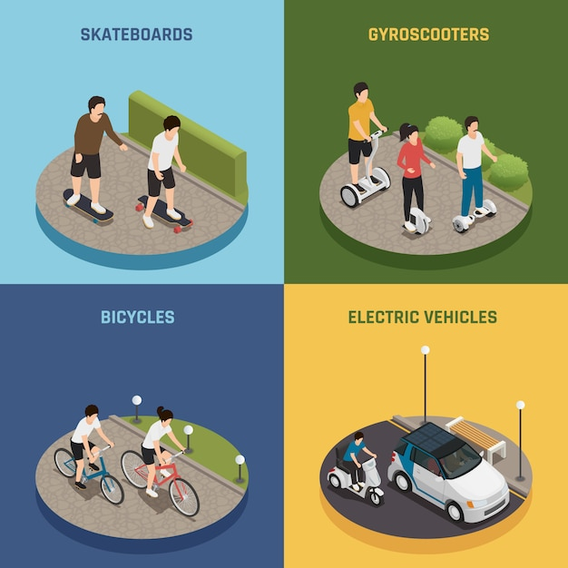 Eco transportation 2x2 design concept Free Vector