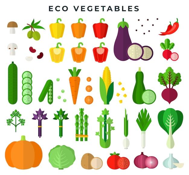 カラフルなフラットデザインセットのエコ野菜 Premiumベクター