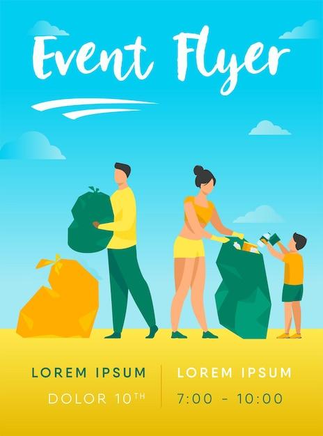 Volontari eco che puliscono la spiaggia del mare o dell'oceano dal modello di volantino della spazzatura Vettore gratuito