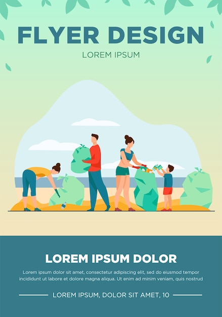 Eco volunteers cleaning sea or ocean beach from garbage. people, family with child collecting trash and sorting waste outdoors. vector illustration for ecology, planet, nature Free Vector