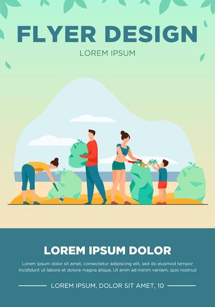 Эко-волонтеры очищают морской или океанский пляж от мусора. люди, семья с ребенком собирают мусор и сортируют мусор на открытом воздухе. векторные иллюстрации для экологии, планеты, природы Бесплатные векторы