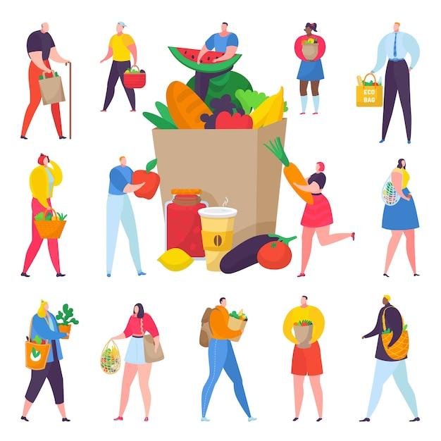 Люди покупок eco дружелюбные с бумажной коробкой полной органической иллюстрации овощей. Premium векторы
