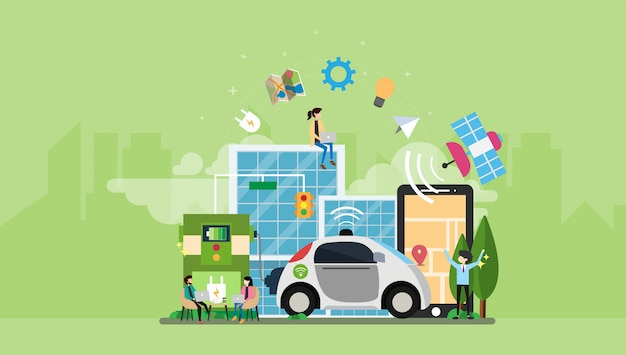 Автономная собственная личность управляя характером людей миниатюрного электрического автомобиля eco содружественным гибридным Premium векторы