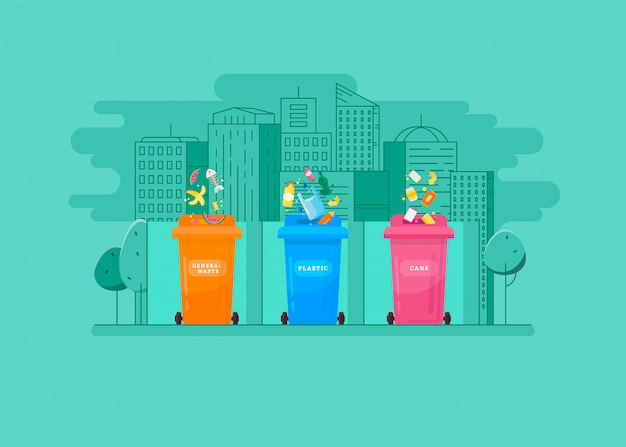 Ecologic concept - trash sorting into the colored containers Premium Vector