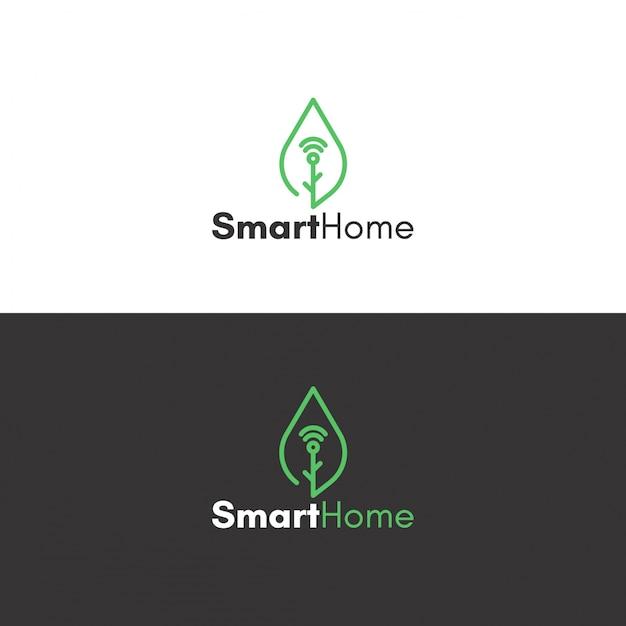 Ecologic smart homeロゴ 無料ベクター