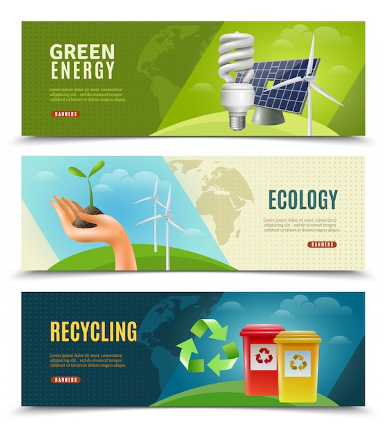 Ecological 3 horizontal banner set Free Vector