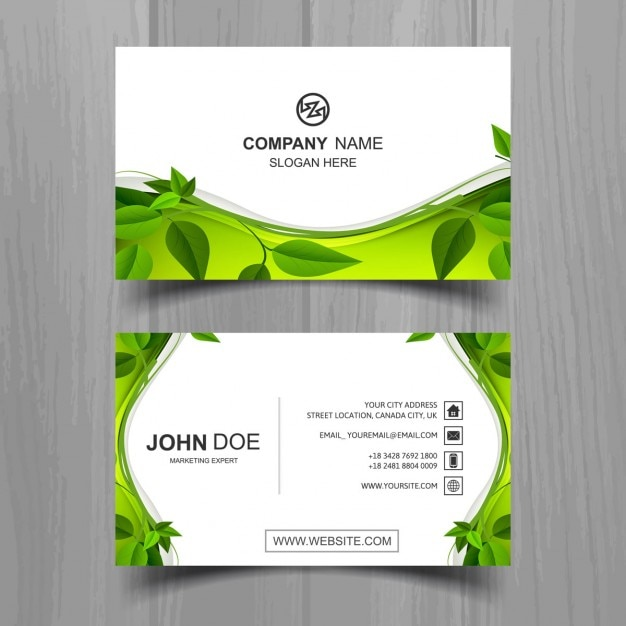 Ecological Business Card With Leaves Free Vector