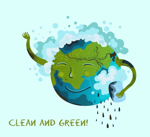 Ecological conceptual illustration of planet earth that clean up itself. Premium Vector