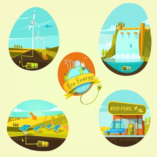 Ecological energy retro style cartoon concept set Free Vector
