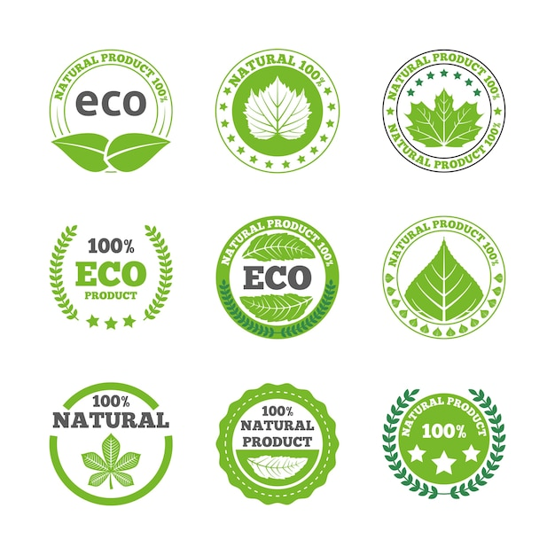 Ecological leaves labels icons set Free Vector
