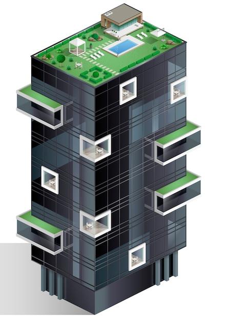 Ecological residential complex Premium Vector