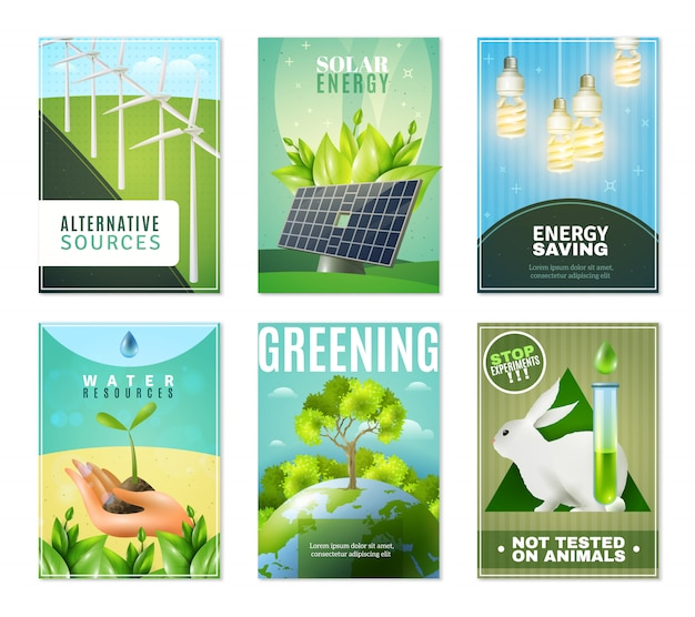 Ecology 6 mini banners collection Free Vector