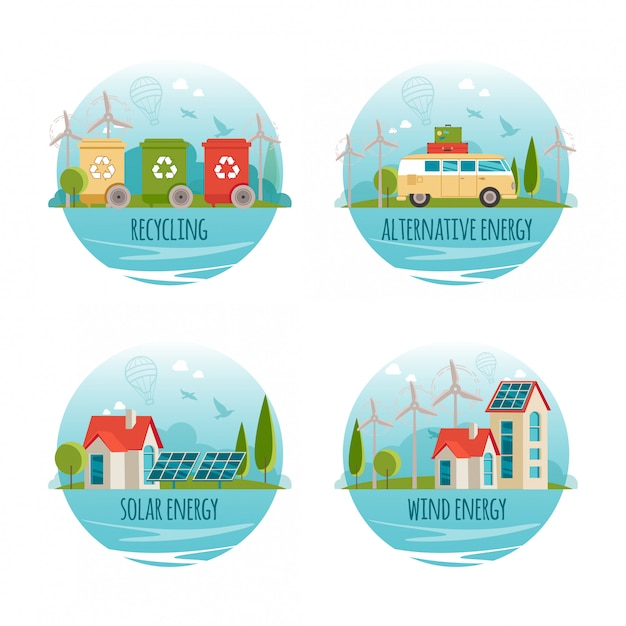生態学、代替エネルギー、グリーンテクノロジー、有機、バイオのコンセプト。漫画バナー Premiumベクター
