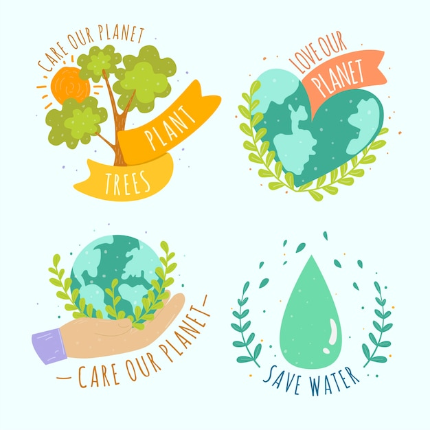 Ecology badge collection drawing Free Vector