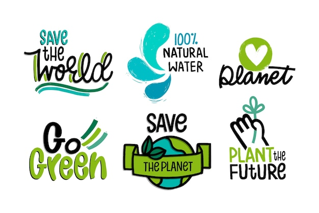 Ecology badges drawing theme Free Vector