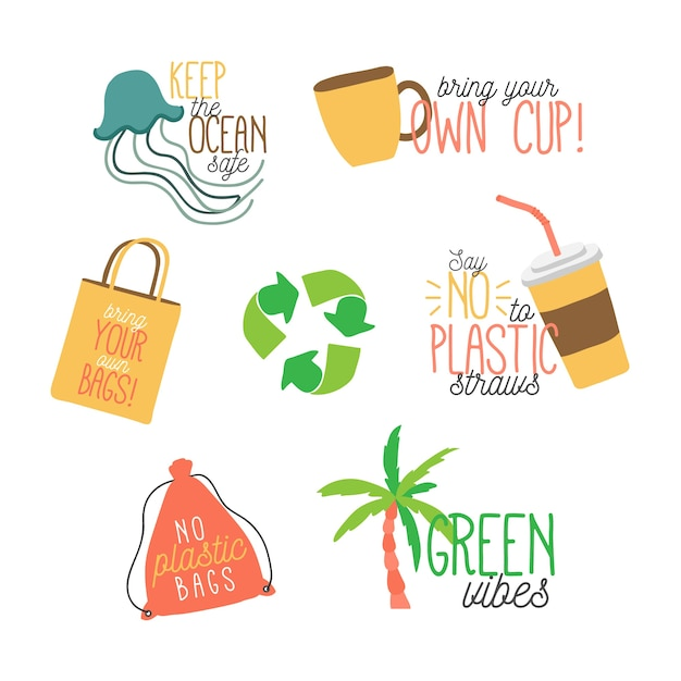 Ecology badges in hand drawn Free Vector