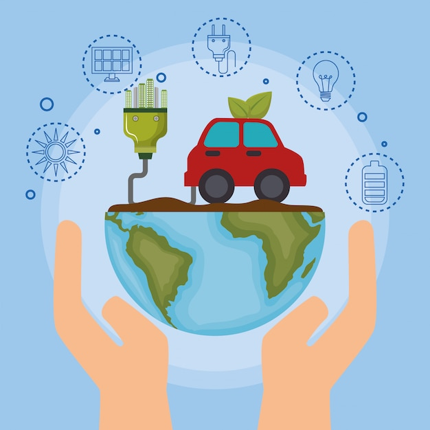 Ecology car vehicle icons Free Vector