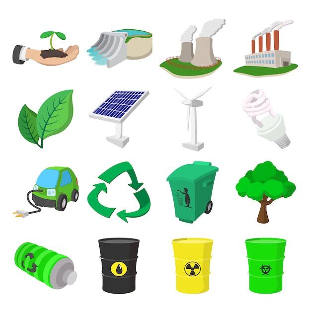 Ecology cartoon icons set. color symbols Premium Vector