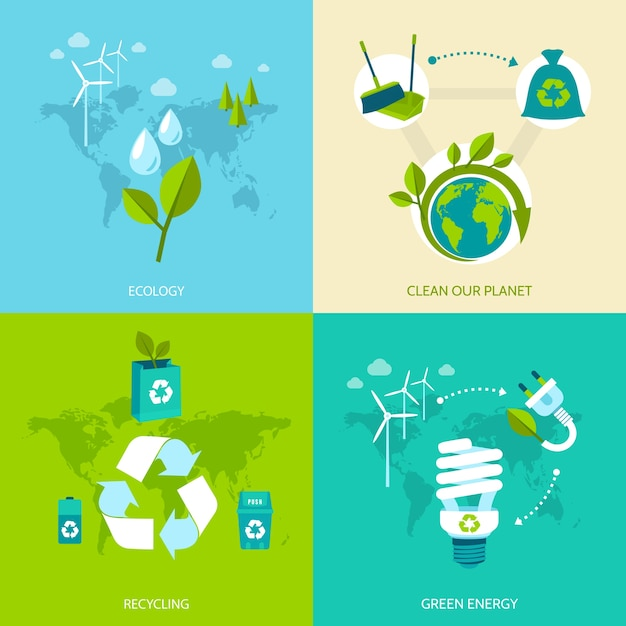 Ecology clean our planet recycling green energy concept icons set isolated vector illustration. Free Vector