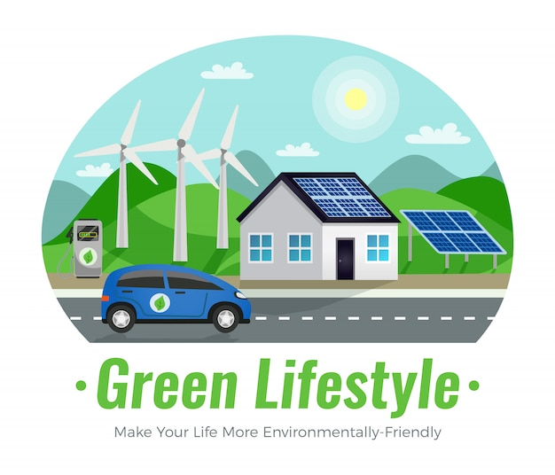 Ecology colored composition Free Vector