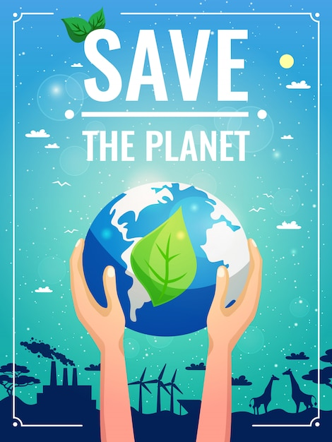 Ecology colored poster Free Vector