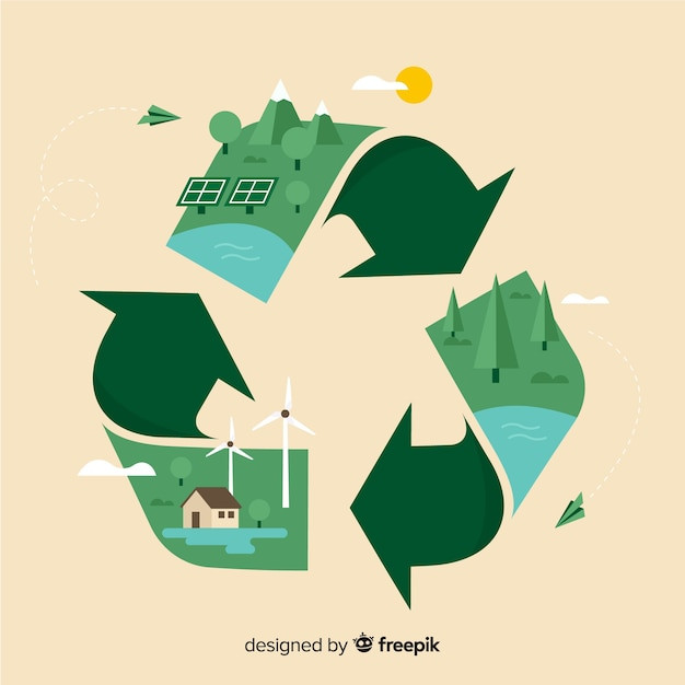 Ecology concept background flat design Free Vector