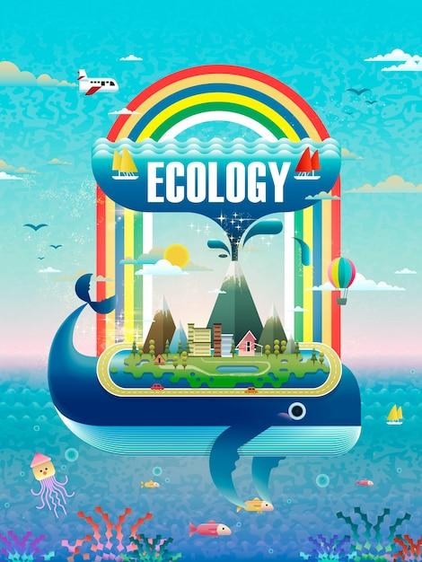 Концепция экологии, элементы окружающей среды с носиками кита Premium векторы