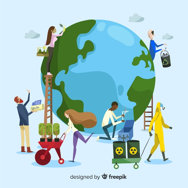 Ecology concept. group of people taking care of the planet, saving the earth Free Vector