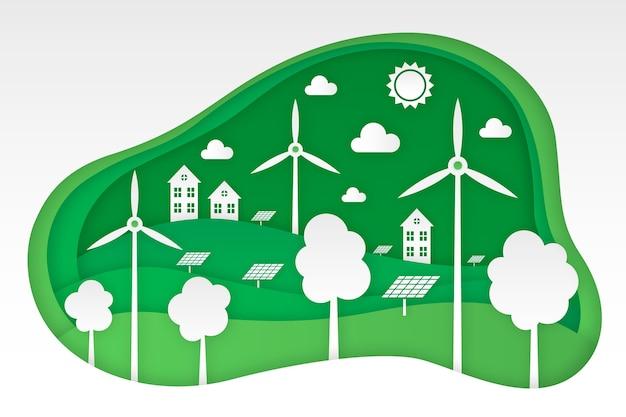 風力タービンと紙のスタイルのエコロジーコンセプト 無料ベクター
