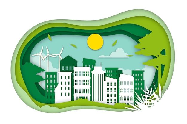 Концепция экологии в бумажном стиле Бесплатные векторы