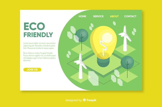 Ecology concept landing page template Free Vector