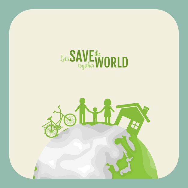 Ecology concept. paper cut of family on green background.  illustration. Premium Vector