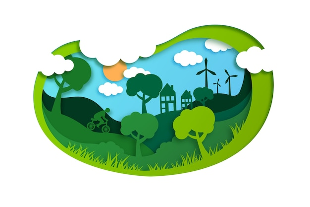 Ecology concept in paper style with trees Free Vector