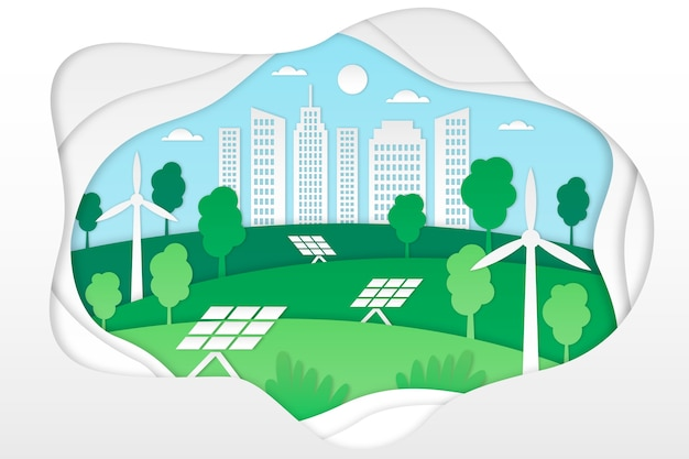 Ecology concept in paper style Free Vector