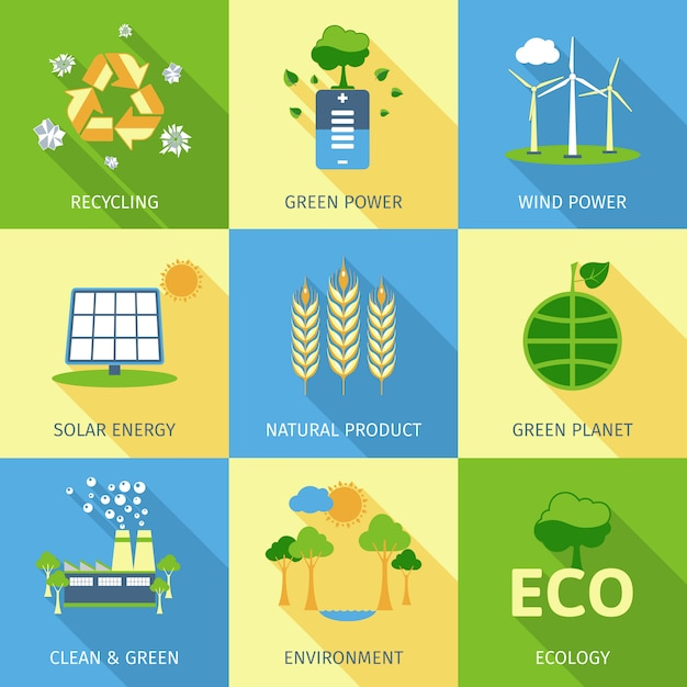 Ecology concept set Free Vector
