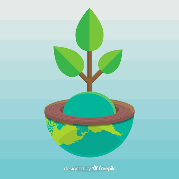 Ecology concept with plant growing from earth globe Free Vector