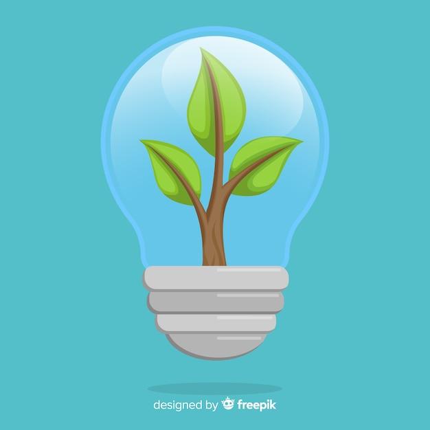 電球の中で成長している植物と生態学の概念 無料ベクター