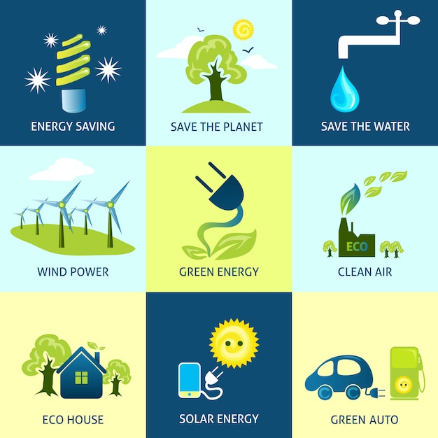 Ecology concepts set Free Vector