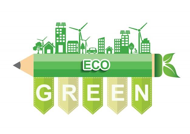 Ecology connection concept. eco green Premium Vector