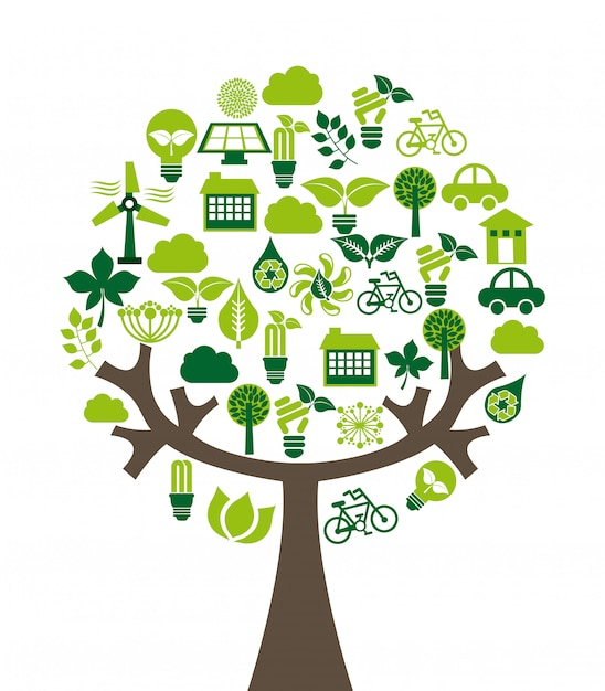 Ecology design over white background vector illustration Premium Vector