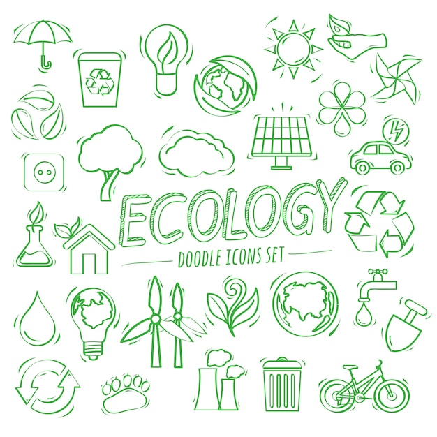 Ecology doodle icons Premium Vector