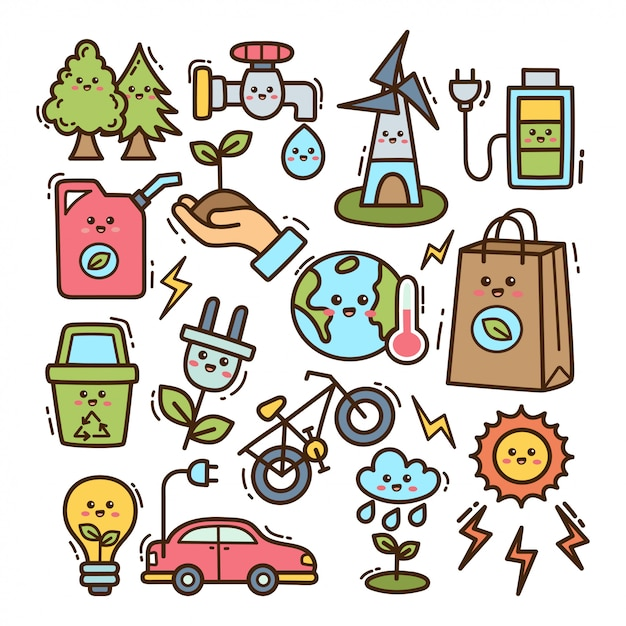 Ecology element in kawaii doodle illustration Premium Vector