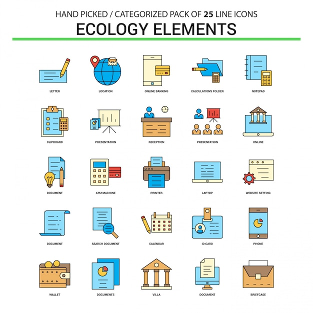 Ecology elements flat line icon set Free Vector