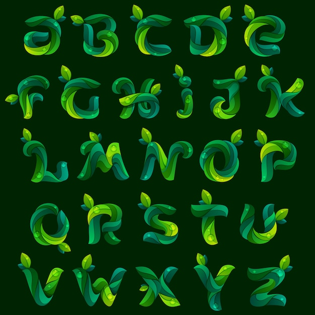 Ecology english alphabet letters formed by green leaves. Premium Vector