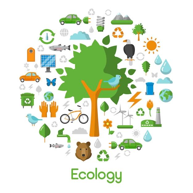 Ecology environment green city concept Premium Vector
