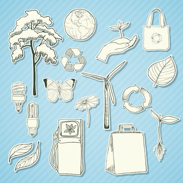 Ecology and environment sticker elements white Free Vector