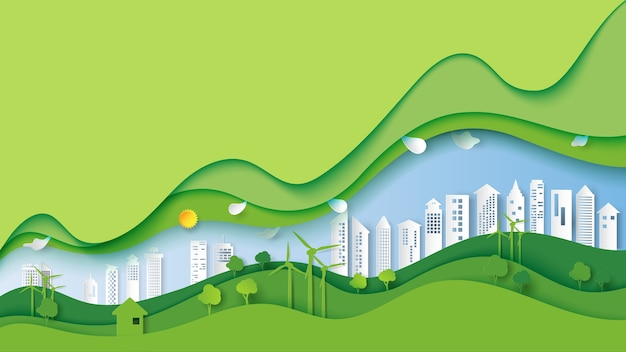 Ecology and environment with green eco city landscape. Premium Vector